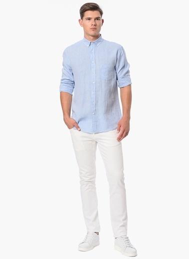 George Hogg Uzun Kollu Keten Gömlek Mavi